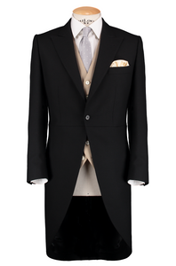 HW Black Morning Suit - Pinstripe with Single Breasted Beige Waistcoat