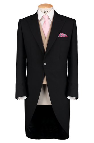 HW Black Morning Suit - Houndstooth with Double Breasted Beige Waistcoat