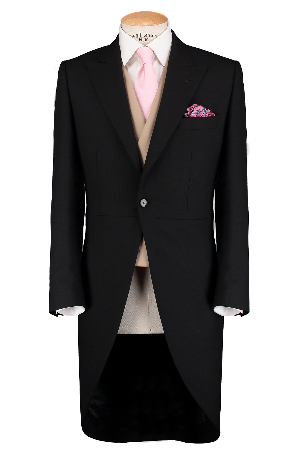 HW Black Morning Suit - Pinstripe with Double Breasted Beige Waistcoat