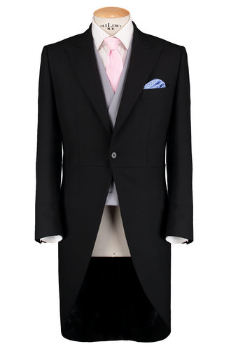 HW Black Morning Suit - Pinstripe with Double Breasted Dove Grey Waistcoat