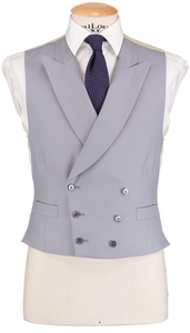 HW Black Morning Suit - Houndstooth with Double Breasted Dove Grey Waistcoat