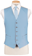 Load image into Gallery viewer, HW Black Morning Suit - Pinstripe with Single Breasted Baby Blue Waistcoat