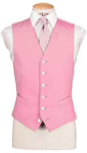 HW Black Morning Suit - Houndstooth with Single Breasted Pink Waistcoat