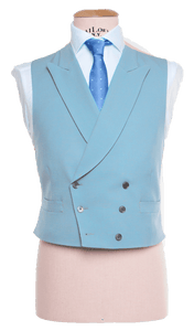 HW Black Morning Suit - Houndstooth with Double Breasted Baby Blue Waistcoat
