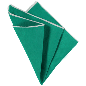 Pocket Square - Green White - Linen