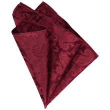 Load image into Gallery viewer, Pocket Square - Paisley Big Dark Red