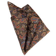 Load image into Gallery viewer, Pocket Square - Paisley Brown