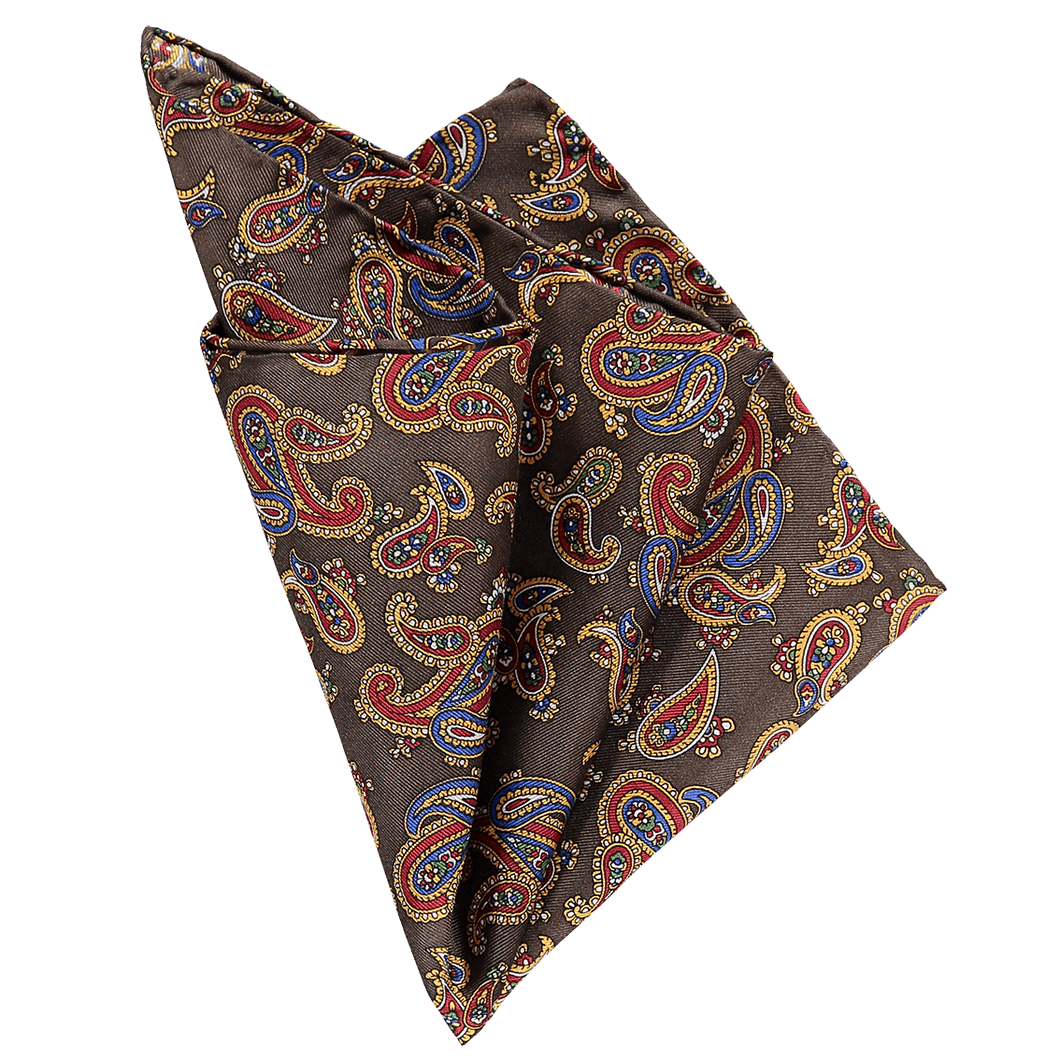 Pocket Square - Paisley Brown
