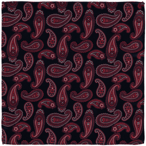 Pocket Square - Paisley Dark Blue/Red