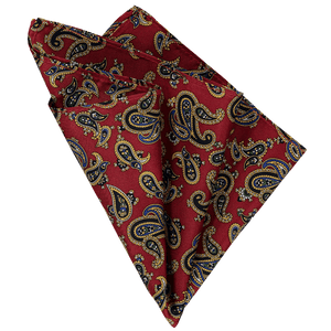 Pocket Square - Paisley Dark Red