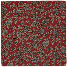 Load image into Gallery viewer, Pocket Square - Paisley Dark Red