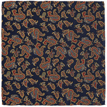 Load image into Gallery viewer, Pocket Square - Paisley Navy Blue