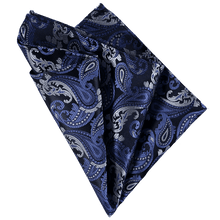 Load image into Gallery viewer, Pocket Square - Paisley Navy Grey