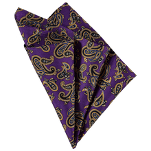 Load image into Gallery viewer, Pocket Square - Paisley Purple