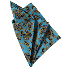 Load image into Gallery viewer, Pocket Square - Paisley Dark Teal