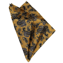 Load image into Gallery viewer, Pocket Square - Paisley Yellow