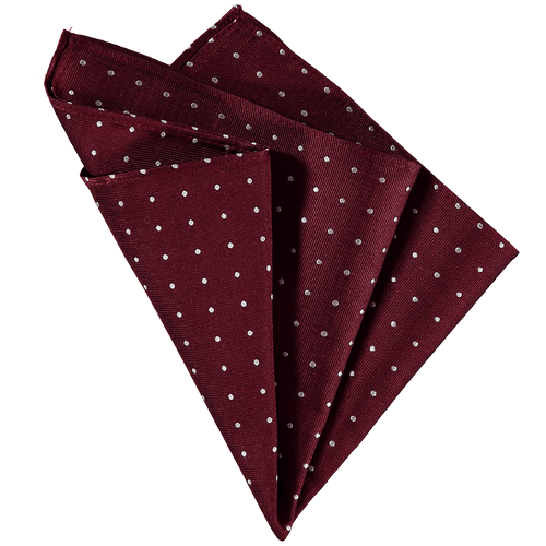 Pocket Square - Bordeaux Red Small White Spots