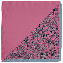 Load image into Gallery viewer, Pocket Square - Half Pink Half Pink/Grey Flower