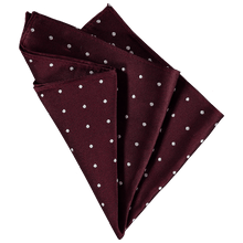 Load image into Gallery viewer, Pocket Square - Bordeaux Red White Spots