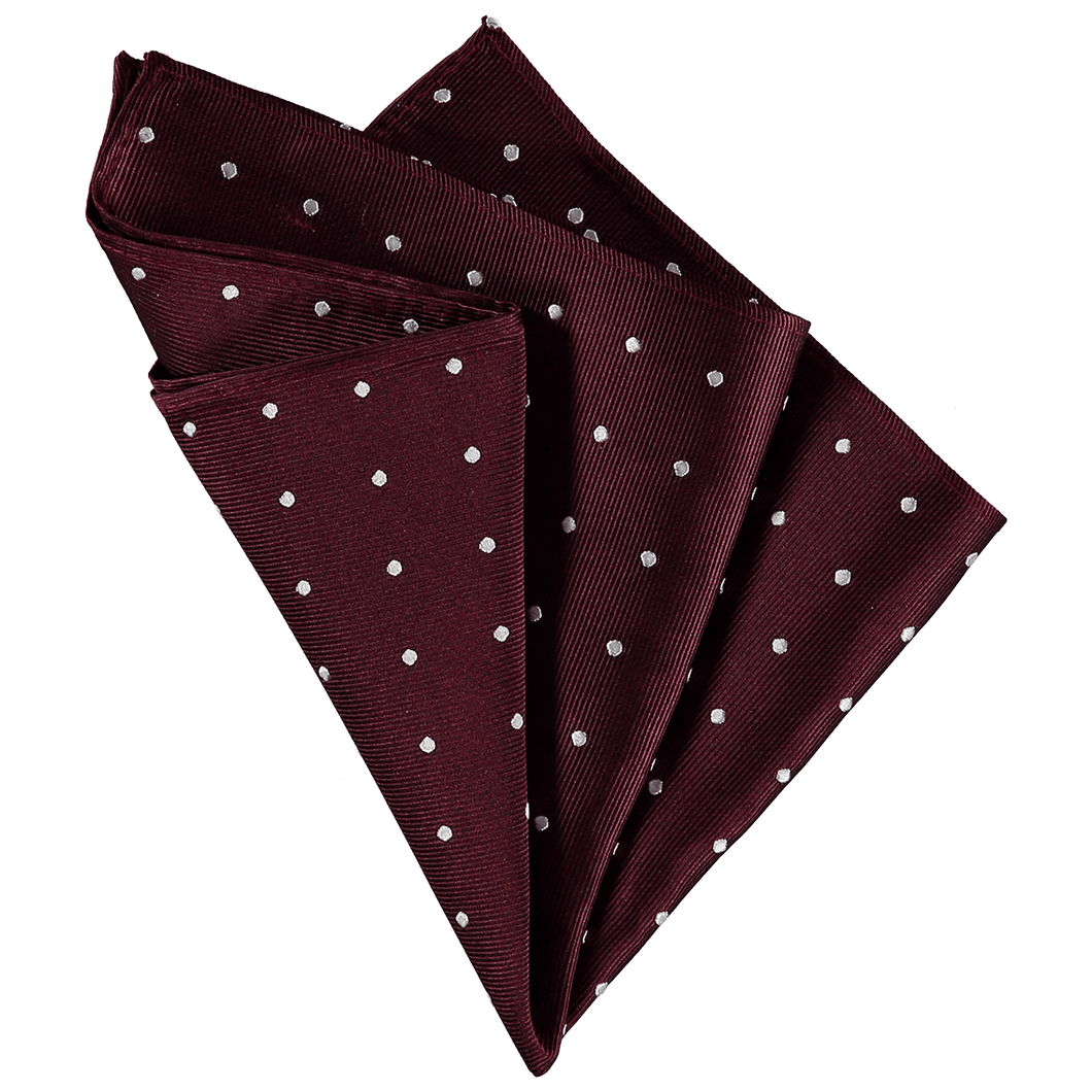 Pocket Square - Bordeaux Red White Spots