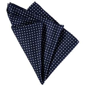 Pocket Square - Dark Blue White Spots
