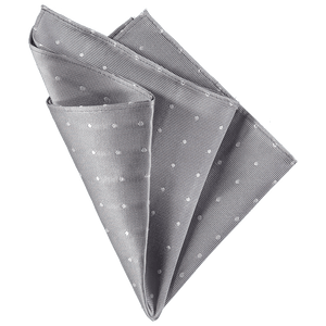 Pocket Square - Grey White Spots
