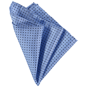 Pocket Square - Light Blue Black Spots