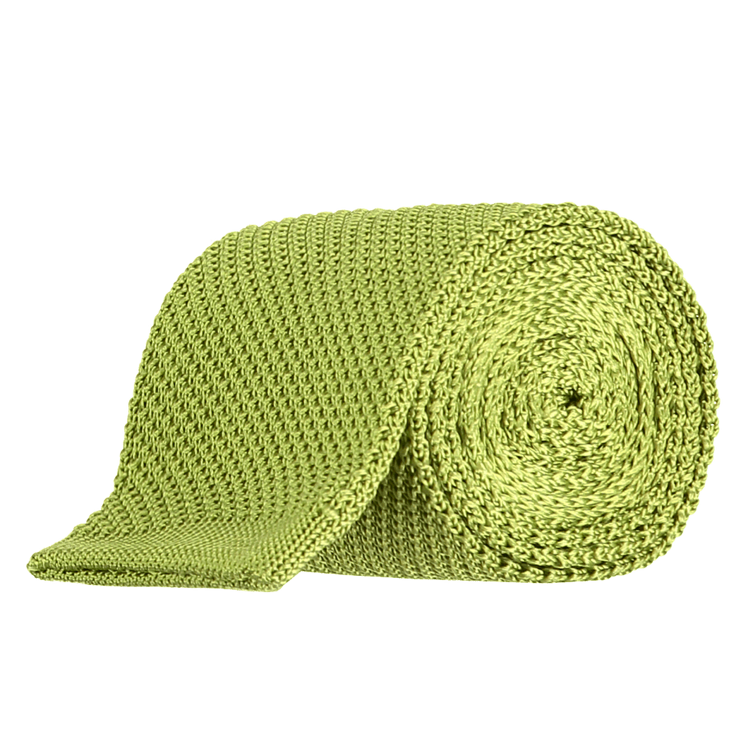 Tie - Knitted Lime Green - Silk