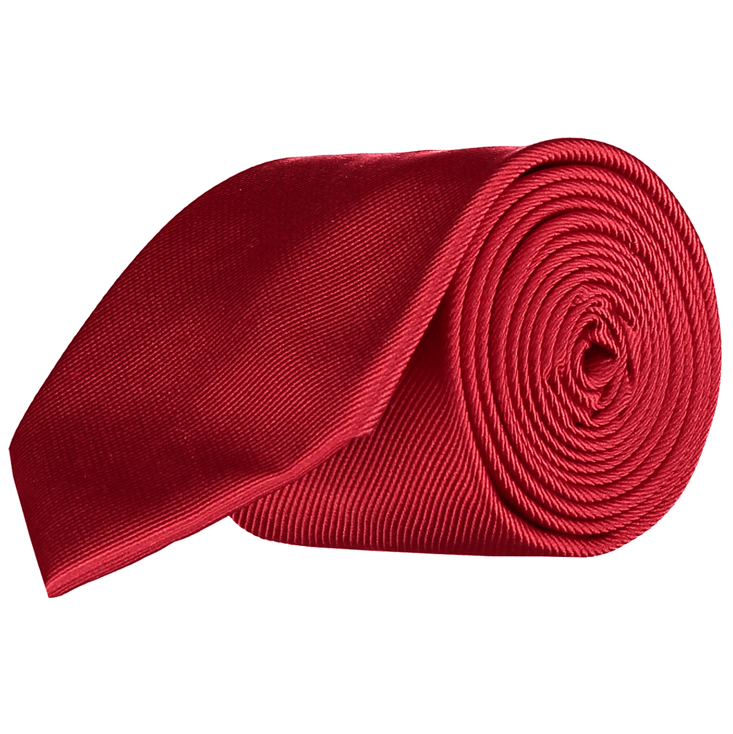 Tie - Diagonal Ribbed Red
