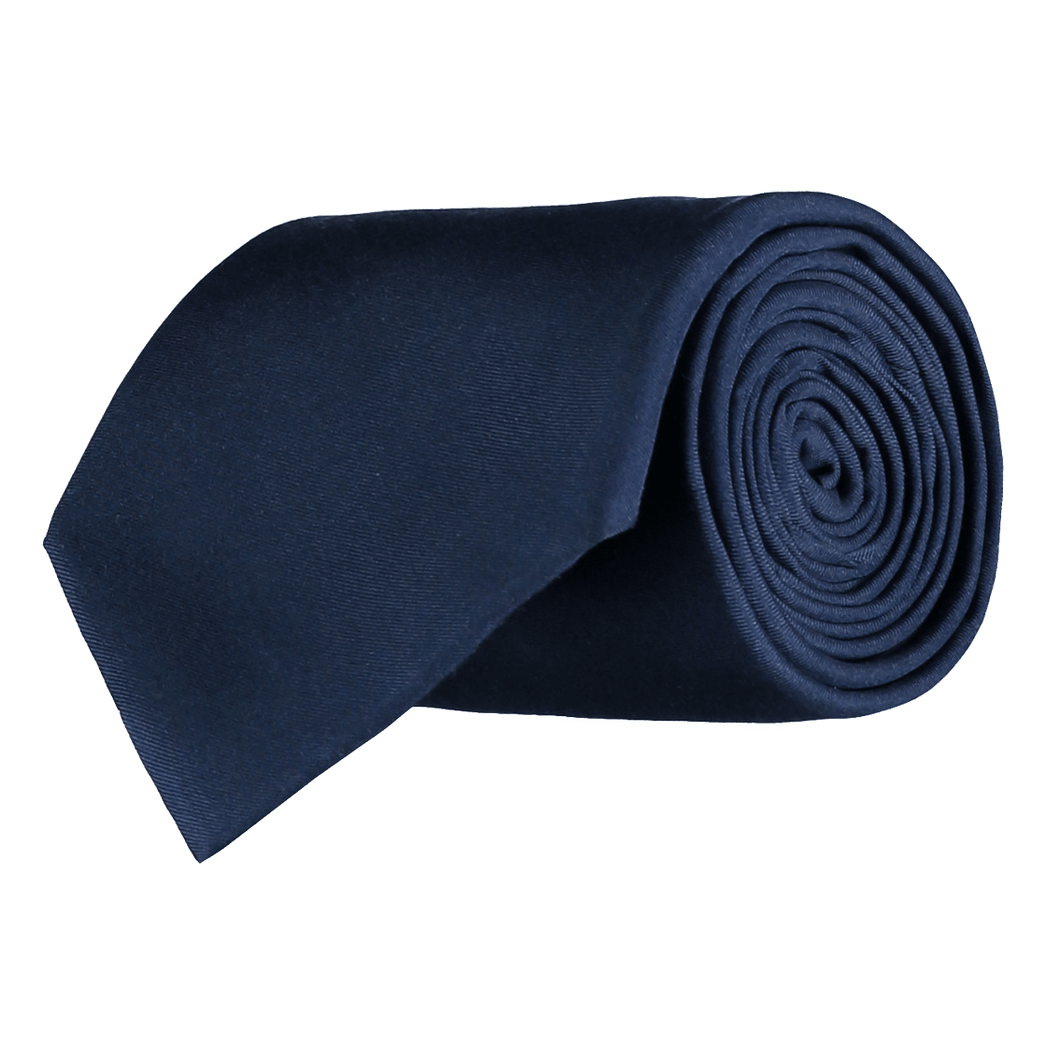 Tie - Plain Silk - Navy Blue