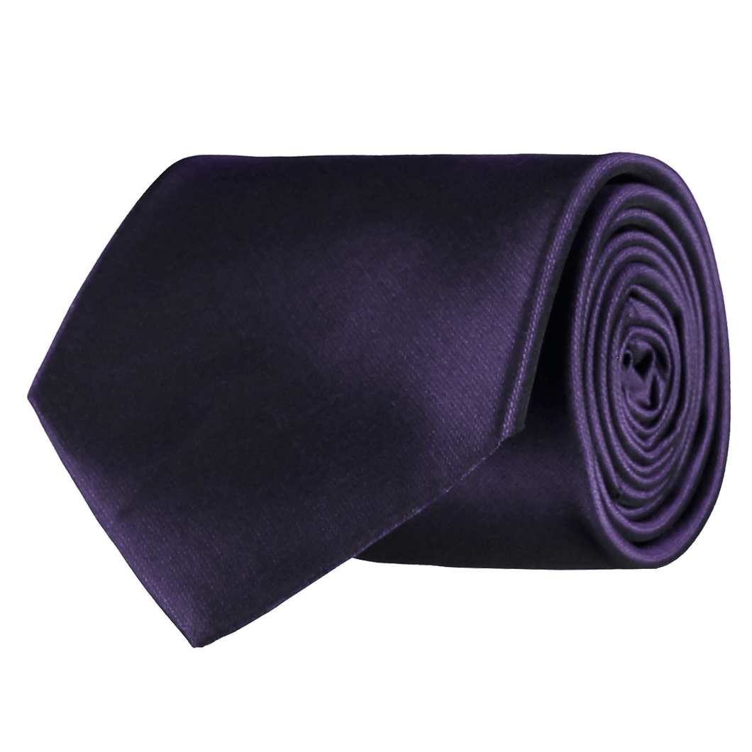 Tie - Plain Silk - Purple
