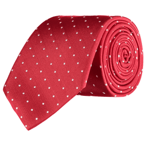Tie - White Spots - Red