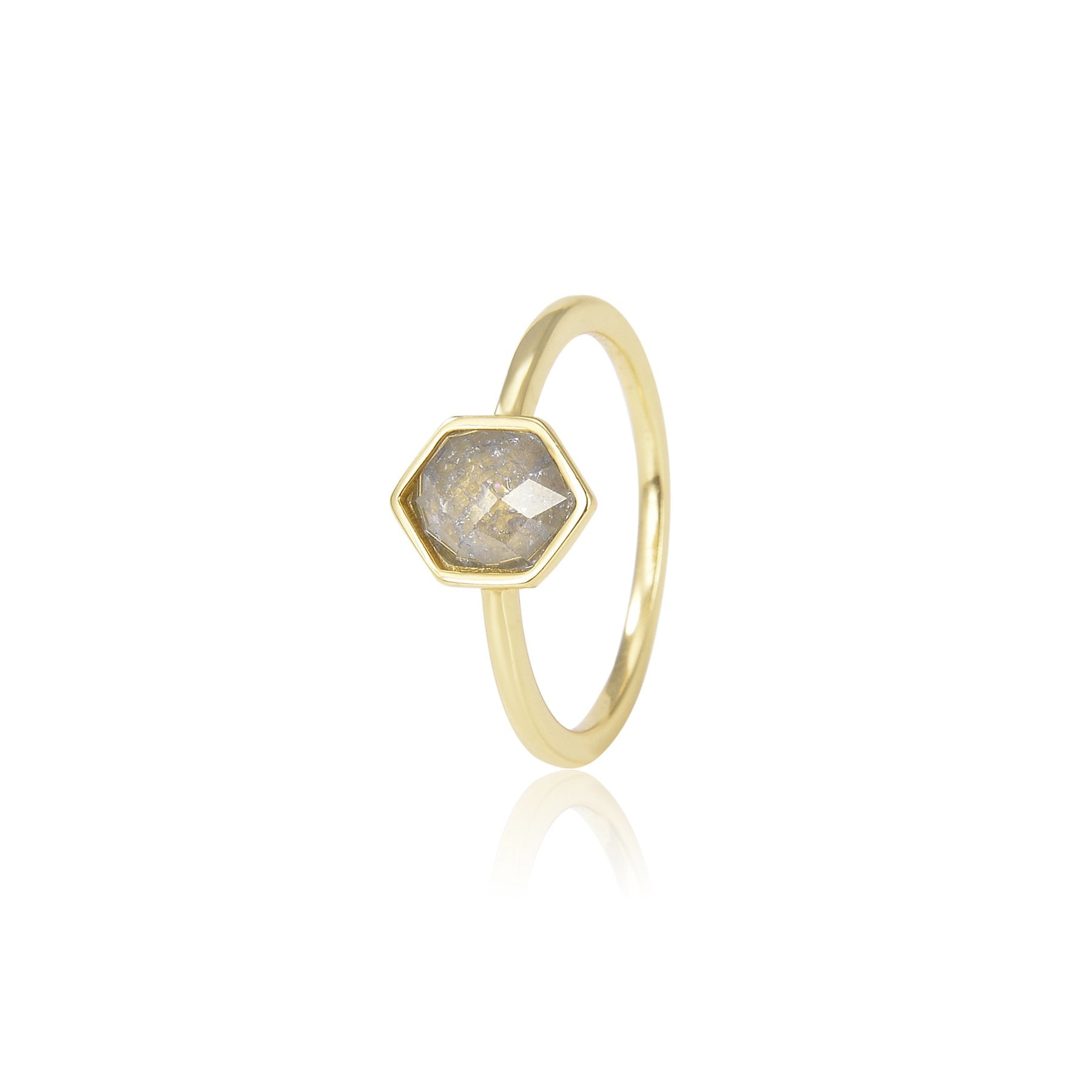 PENTAGONAL STONE GOLD PLATED