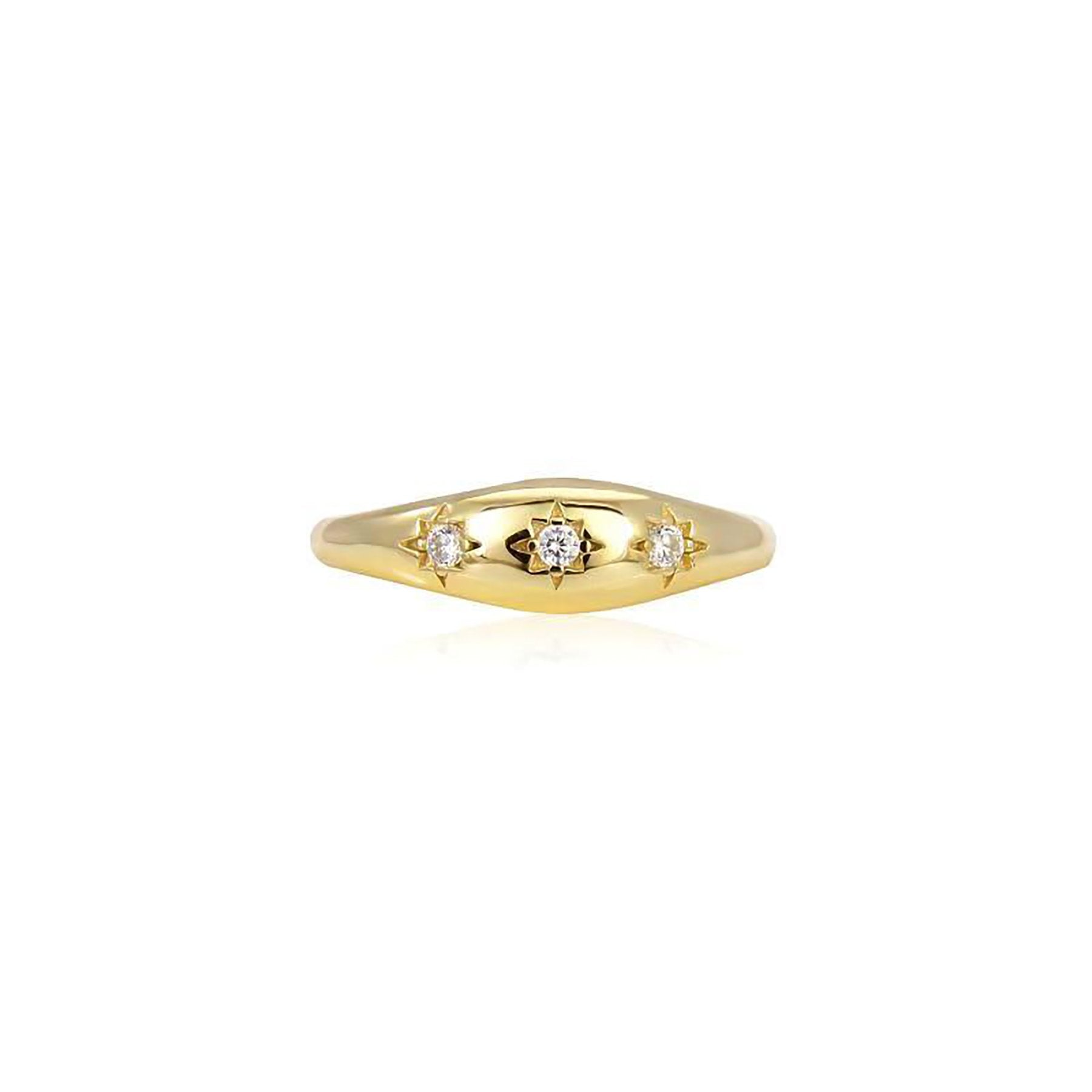 PROMINENT COVER RING WITH 3 STARS GOLD PLATED