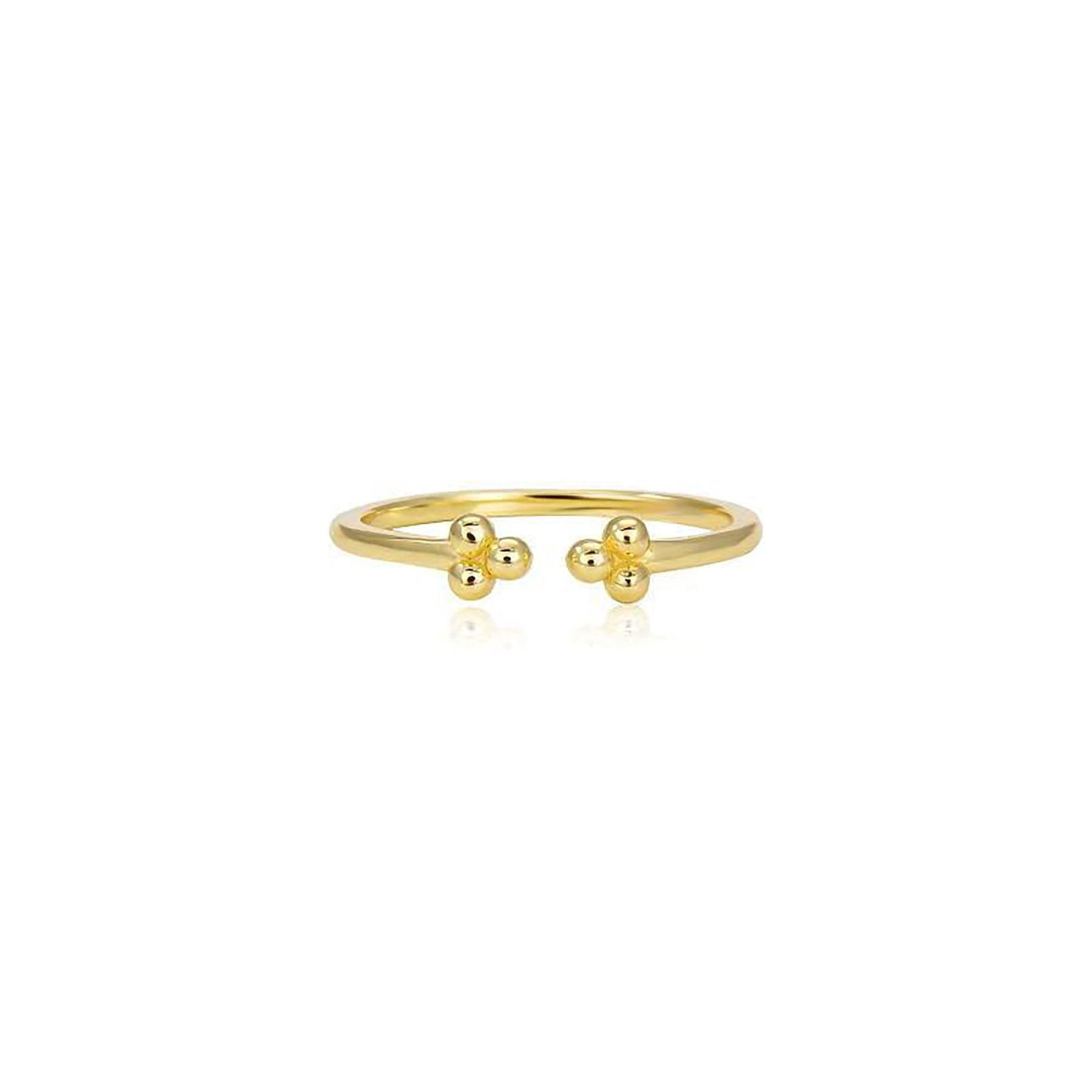 OPEN RING WITH 3 CIRCLES GOLD PLATED