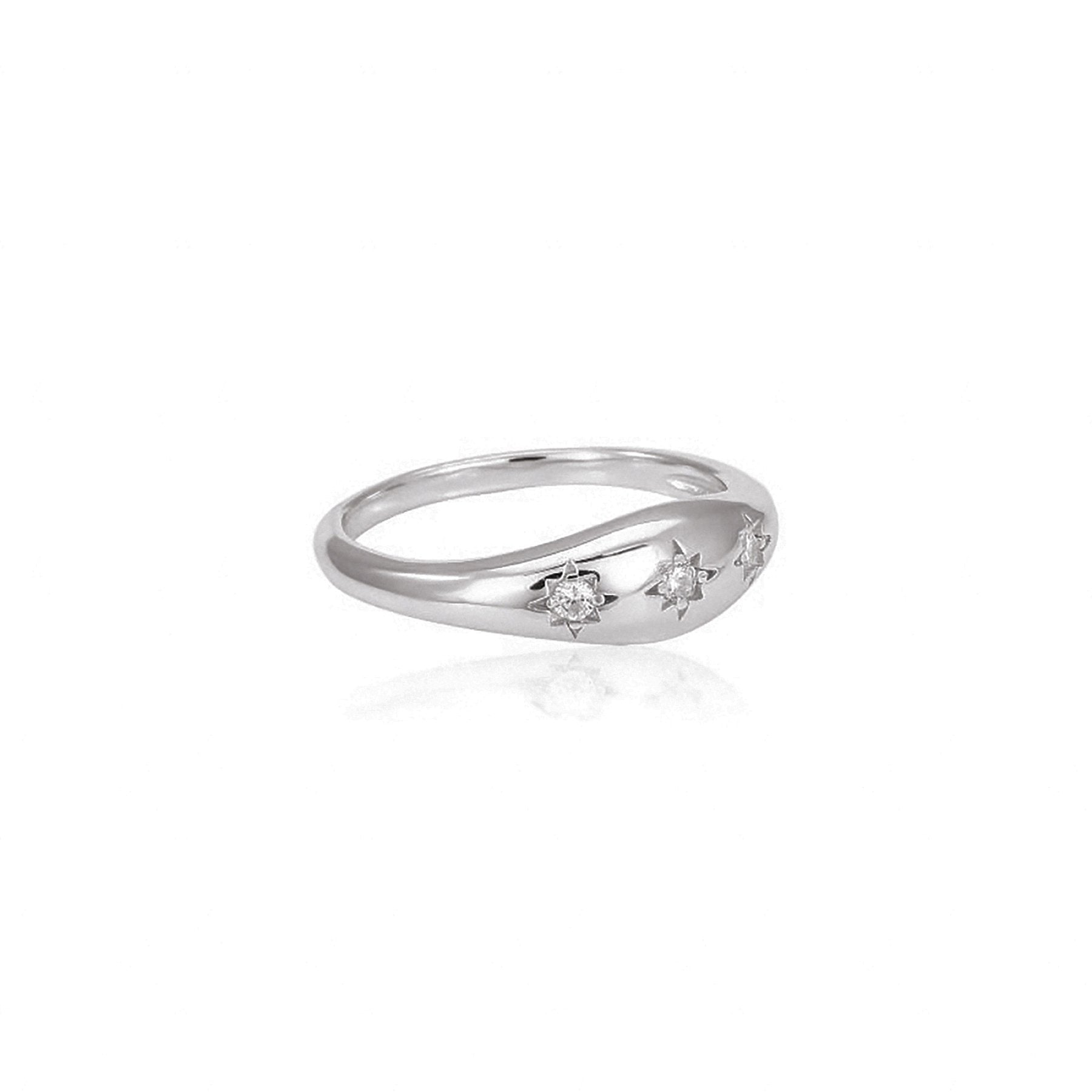 PROMINENT COVER RING WITH 3 STARS STERLING SILVER 925