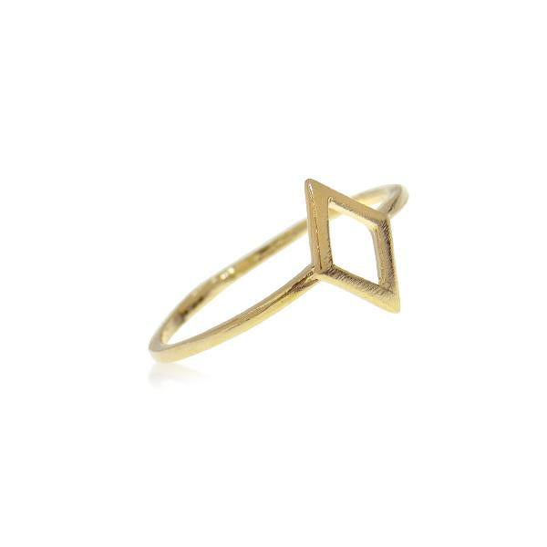 Ring with Small Rhombus Frame Gold plated