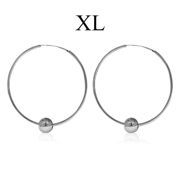 Hoop Earrings with Ball - XL size Sterling silver 925