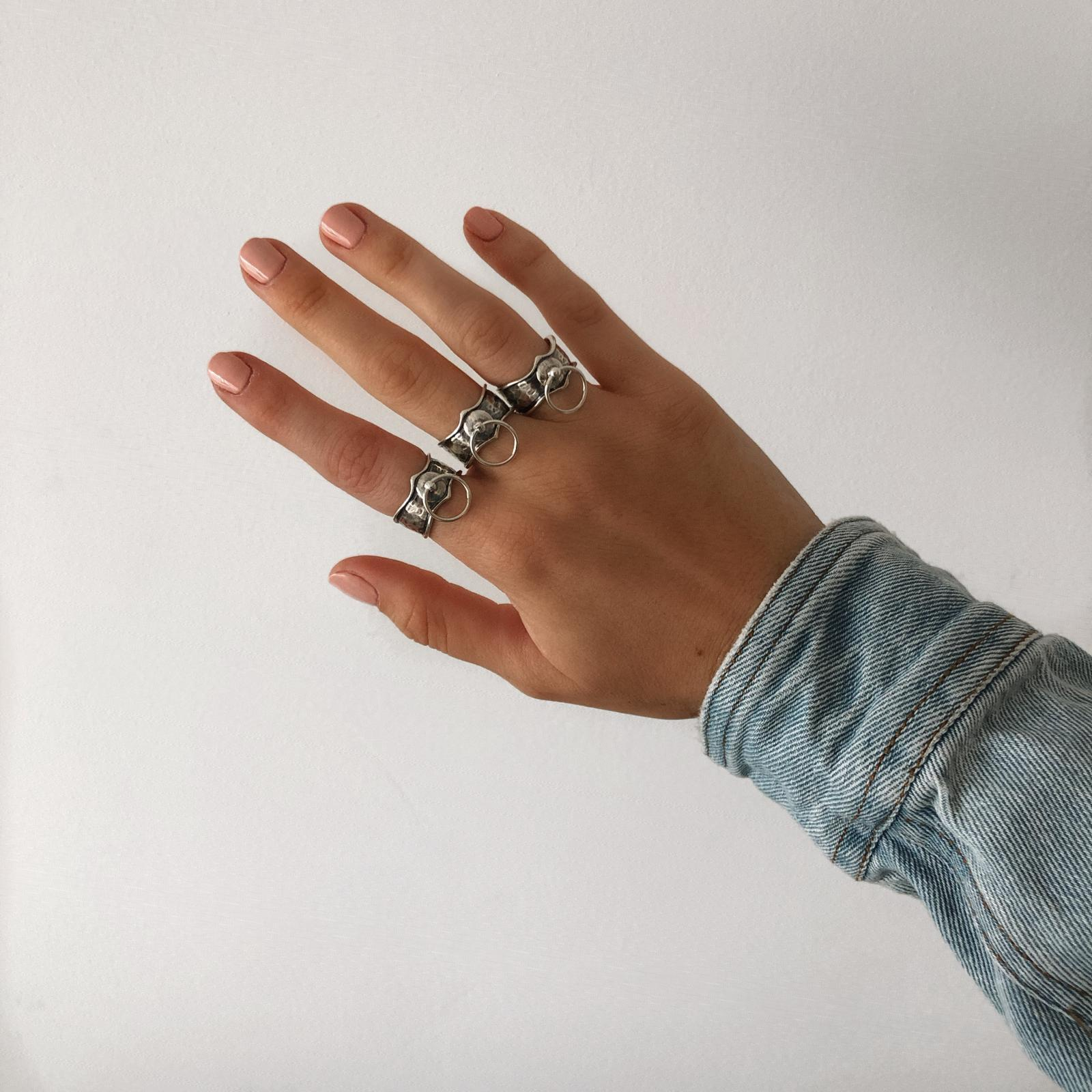 Blackened Chain Ring Sterling silver 925