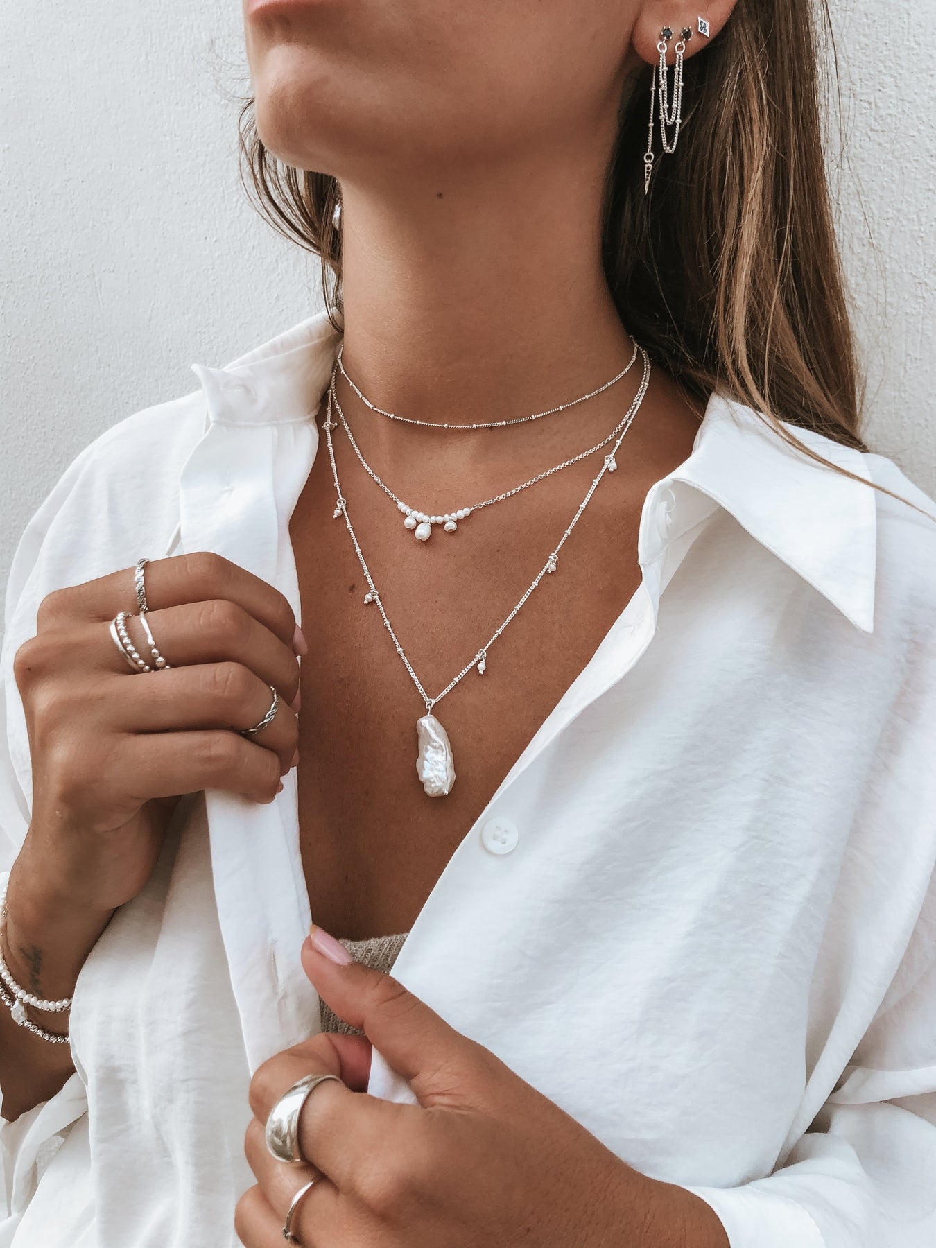 Necklace with Elongated Drop Pearl Sterling silver 925