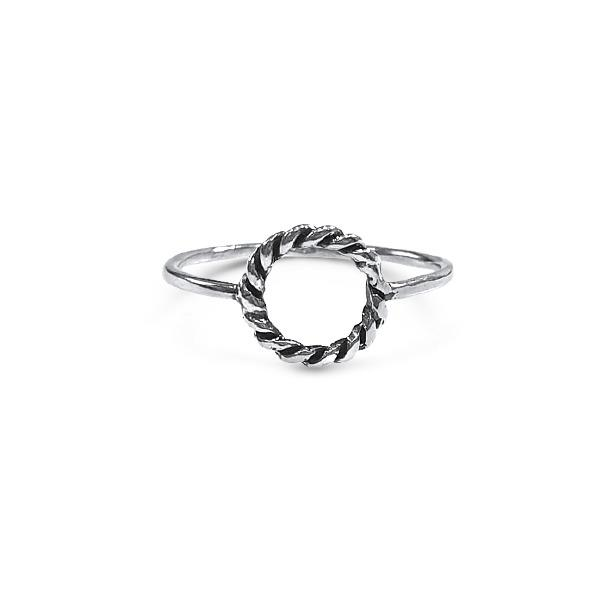 Ring with NK Open Circle Frame Sterling silver 925