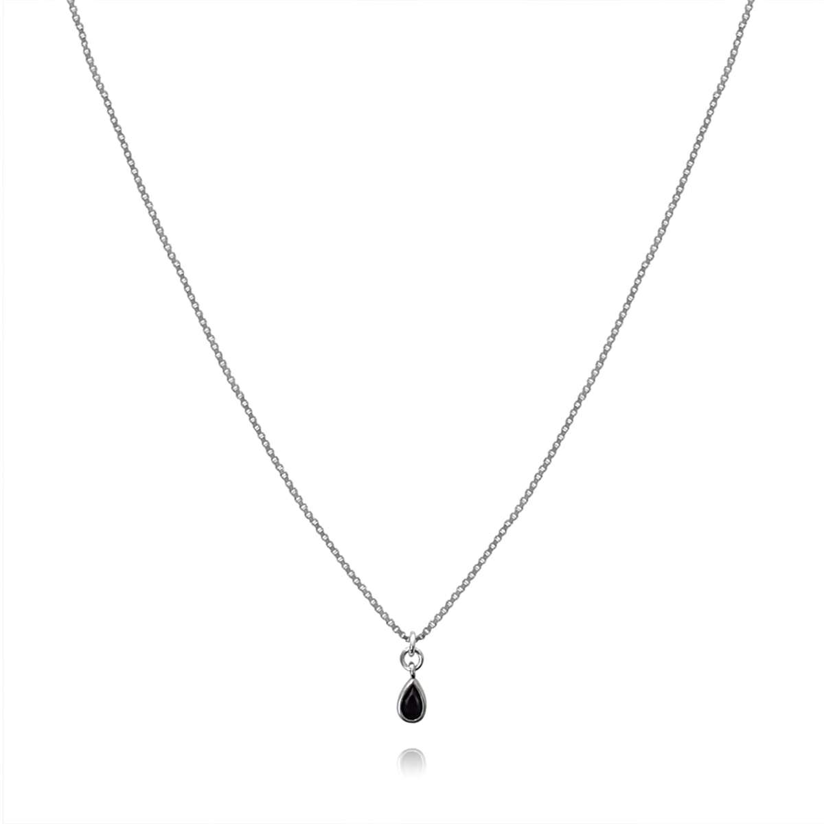 Necklace with Tiny Black Drop Sterling silver 925