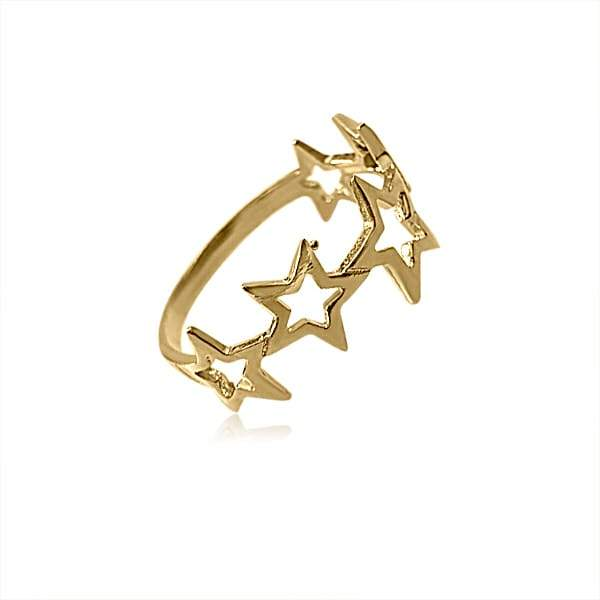 Ring with 5 Stars Gold plated