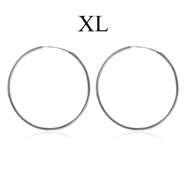 Hoop Earrings with - XL size Sterling silver 925
