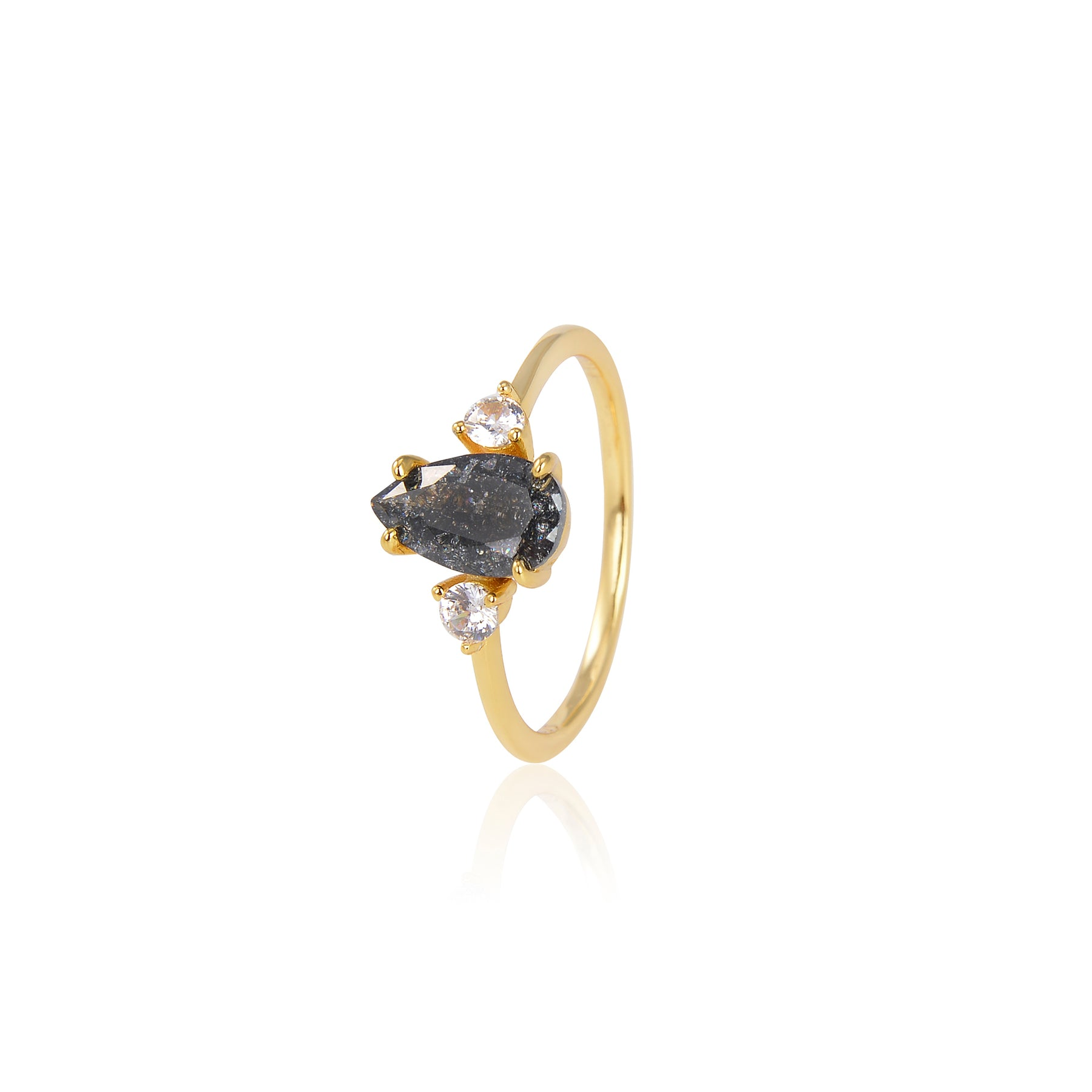 BLACK DROP ZIRCON RING GOLD PLATED