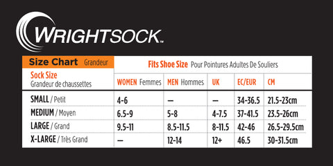 Wrightsock Sizing Chart & Care Instructions