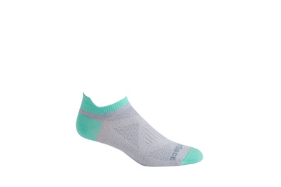 Women's specific tab length grey and lucite sock