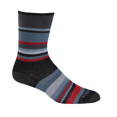 Black red and grey striped crew sock