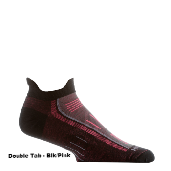 Black and pink double tab running sock