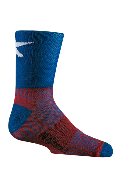 Kids patriot blue and red sock with star